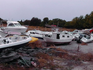 Confiscated boats which were used to disembark refugees