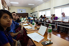 Six PhD students from Myanmar and five PhD and MA students from German-speaking countries presented on their ongoing anthropological fieldwork in Myanmar.