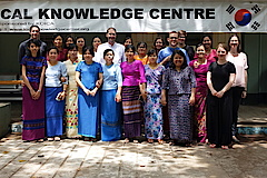 Group Picture with PhD students, lecturers of anthropology and the conference organizers at the Local Knowledge Centre on the University campus in Yangon.